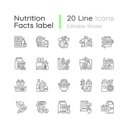 Healthy eating linear icons set. Protein supplement. Vitamin pill. Food group. Dietary ingredients. Customizable thin line contour symbols. Isolated vector outline illustrations. Editable stroke