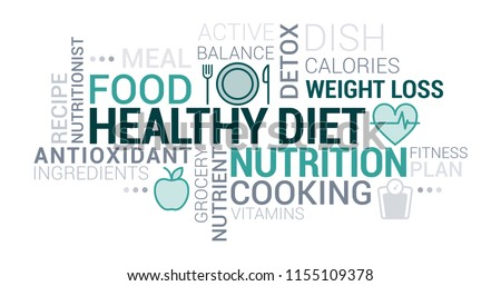 Healthy eating, nutrition and diet tag cloud with icons and concepts