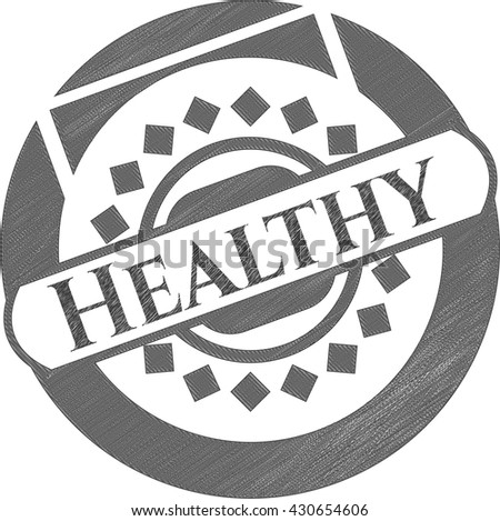 Healthy emblem draw with pencil effect