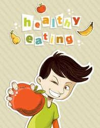 Healthy food, cartoon teenager boy with red apple and fruits. Vector file layered for easy manipulation and custom coloring.