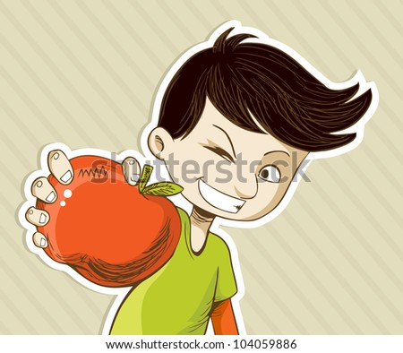 Healthy food, cartoon teenager boy with red apple. Vector file layered for easy manipulation and custom coloring.