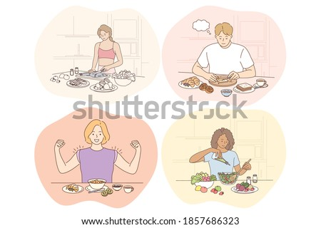 Healthy food, clean eating, diet, weight loss, nutrition, ingredients concept. Young positive people men and women cartoon characters eating healthy meals living healthy lifestyle. Wellness, bodycare