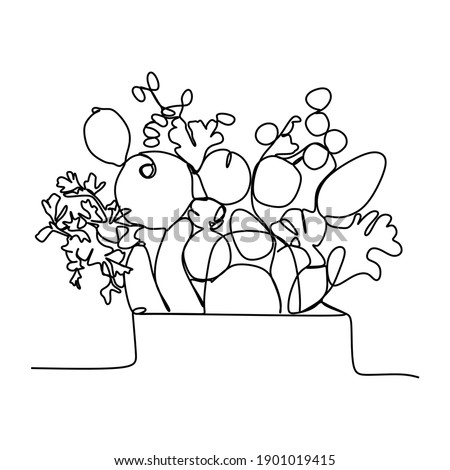 Healthy food clean eating selection: fruit, vegetable, seeds, superfood, cereal, leaf vegetable-Continuous one line drawing