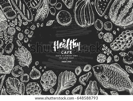 Healthy food collection. Good nutrition chalkboard table background. Linear graphic. Hero image. Vector illustration