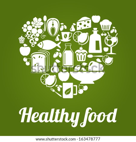 healthy food concept, vintage style, heart shape. vector illustration