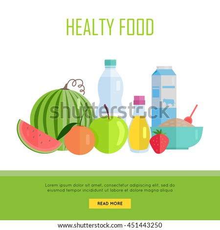 Healthy food concept web banner. Vector in flat design. Illustration of various food: cereal, oil, water, milk, fruits and vegetables on white background for cafe, stores, farm web pages design.