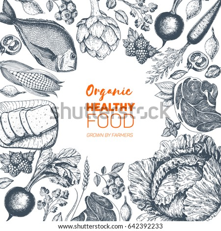 Healthy food frame vector illustration. Vegetables, berries, meat, fish hand drawn. Organic food set.