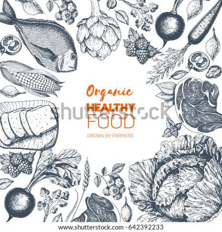 Healthy food frame vector illustration. Vegetables, berries, meat, fish hand drawn. Organic food set.
