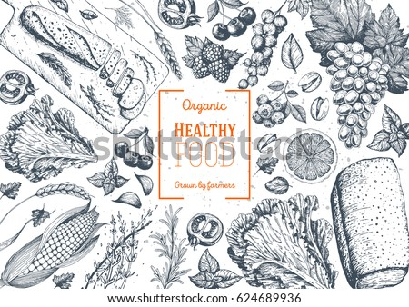 Healthy food frame vector illustration. Vegetables, fruits, bread, berries hand drawn. Organic food set. Vegetarian food collection #624689936