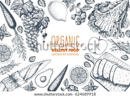 healthy food frame vector