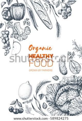 Healthy food frame vector illustration. Vegetables, fruits, meat hand drawn. Organic food set. Engraved style image. #589824275