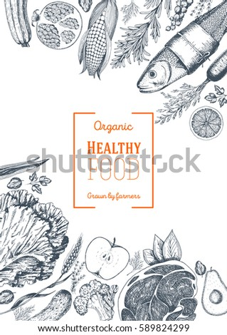 Healthy food frame vector illustration. Vegetables, fruits, meat hand drawn. Organic food set. Linear graphic.