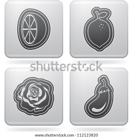 Healthy food - fruits and vegetables icons set, from left to right, top to bottom:  Orange, Lemon, Lettuce, Eggplant.