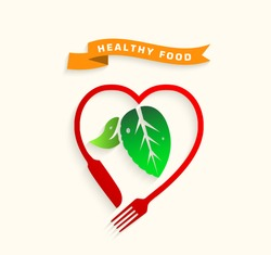 Healthy food.Healthy food icon concept,Love healthy food