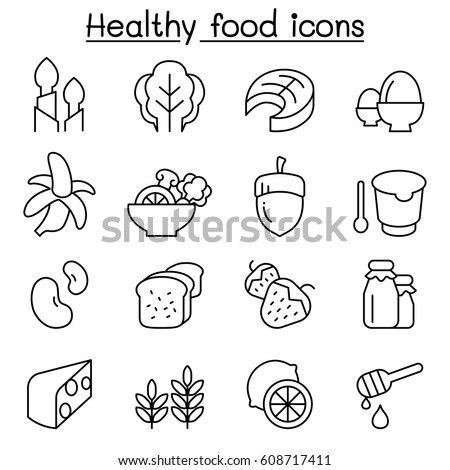 Healthy food icon set in thin line style