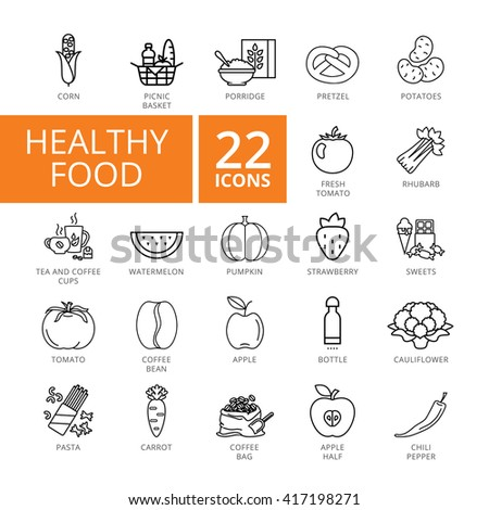 Healthy Food Icon set. Vector Thin line icon. Good for presentation, training, marketing, design, web. Can be used for creative template, logo, sign, craft. Isolated on white background.