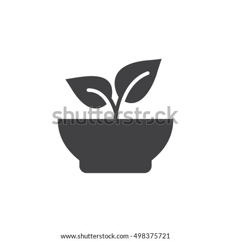 Healthy food icon vector, plant in a bow filled flat sign, solid pictogram isolated on white, logo illustration