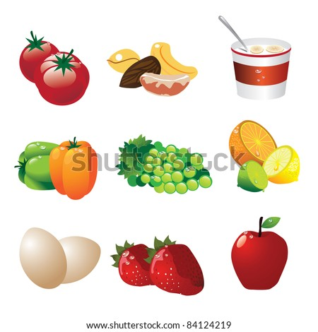 Healthy food icons A collection of nine icons depicting healthy foods. EPS 8 vector, cleanly built with no open shapes or strokes.