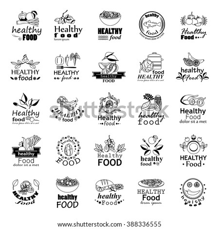healthy food icons set