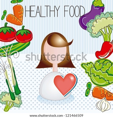 Healthy Food Icons, vegetables draws, vector illustration