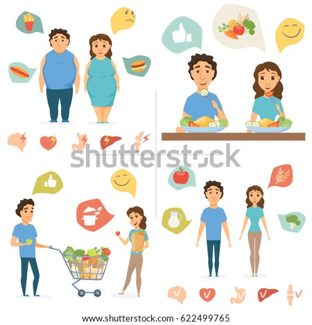Healthy food infographics. Couple lifestyle concept. Nutrition, diet and junk eating, human organ chart. Smile man and women shopping. Slim and overweight fat people