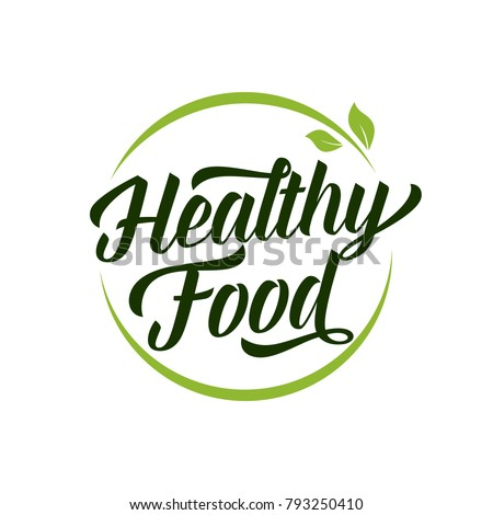 Healthy Food Lettering in Round Frame