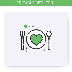 Healthy food line icon. Diet. Weight loss. Healthy balanced eating. Dietary nutrition. Calorie count. Slimming concept. Health care. Isolated vector illustration. Editable stroke