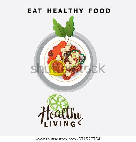 healthy food on a plate for healthy living. vector illustration