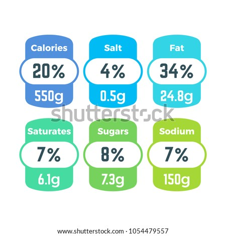 Healthy food packing nutrition labels with calories and grams information vector set. Nutrition energy food, ingredient info, sodium and fat illustration