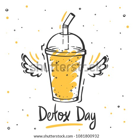 Healthy food poster. Hand drawn vector elements of smoothies, lemonade, fresh, juice, detox in sketch style.