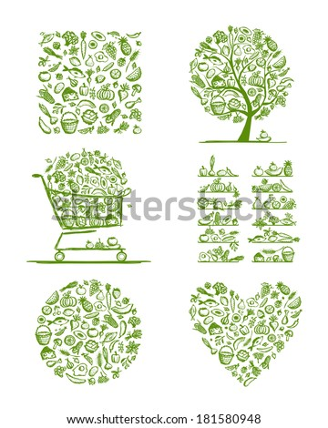Healthy food set, sketch for your design - stock vector