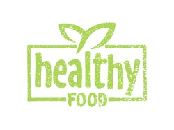 Healthy Food stamp in rough grungy style - green eco emblem for natural eating - isolated vector badge