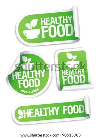 Healthy Food stickers set.