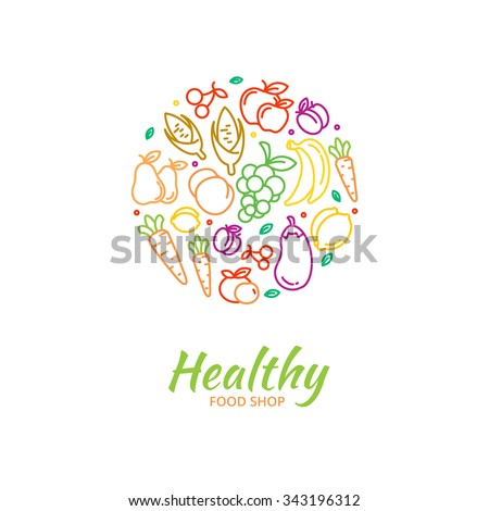 healthy food store logo fruit