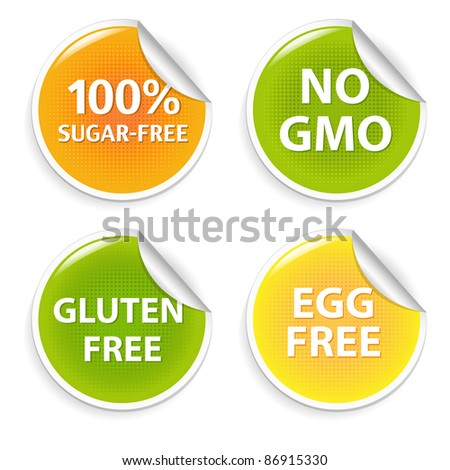 Healthy Food Symbols, Isolated On White Background, Vector Illustration