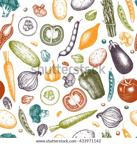 Healthy food vector background. Ink hand drawn vegetables sketch. Vintage seamless pattern with fresh vegetables isolated on white. Line art. Outlines.