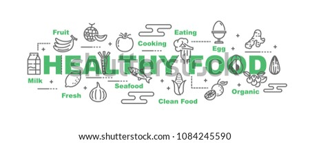 healthy food vector banner design concept, flat style with icons