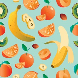 Healthy food vector digital banana pattern background illustration with oranges and bananas. Colourful fresh fruit for juice vector background. fresh tasty food vector pattern background. orange and kiwi pattern
