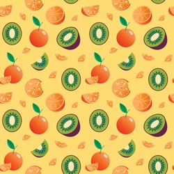 Healthy food vector digital banana pattern background illustration with oranges and bananas. colourful fresh fruit and juice vector background. fresh tasty food vector pattern background. orange and kiwi pattern