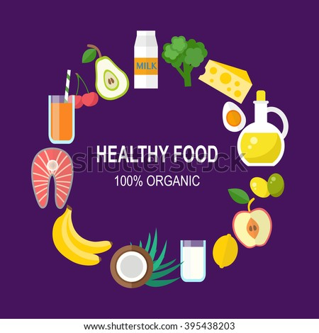Healthy food vector template. Organic products concept. Flat style design, vector illustration