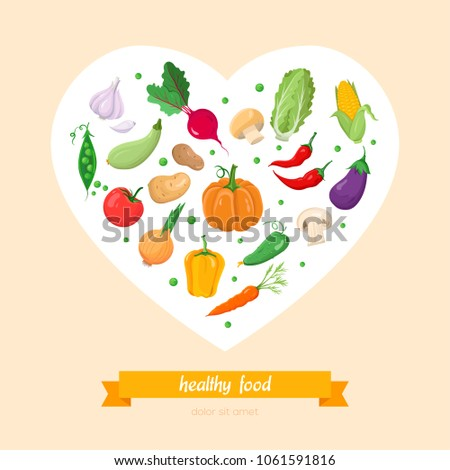 Healthy food, vegetables - modern colorful vector illustration in a heart shaped frame on pink background with place for text. A poster with a pumpkin, pepper, corn, garlic, beet, peas, carrot, onion