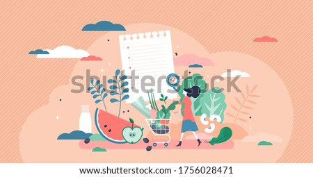 Healthy foods list vector illustration. Nutrition products.  Full shopping cart and flat tiny person concept. Eating balanced meals with vitamins, greens, fresh vegetables and fruits. Shop.