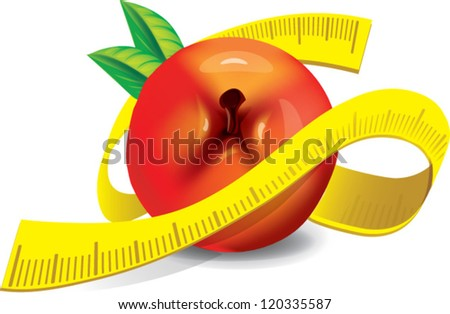 Healthy - fresh Apple with measuring tape