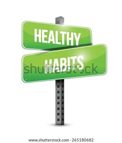 healthy habits target sign concept illustration design over white ストックフォト ©