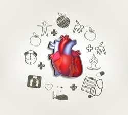 Healthy heart at the middle hand drawn tips around . Healthy food, fitness, no stress, healthy weight, doctor visits, good sleep leads to healthy heart.
