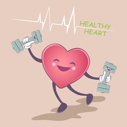 Healthy heart. Healthy lifestyle. Smile shape of a heart with a dumbbell in the background. Health, sport, medicine. Vector illustration.