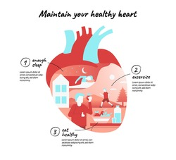 healthy heart. Infographic about Prevention of cardiovascular deseases. shows people running, eat fruit and vegetable, and sleep, in heart shape.