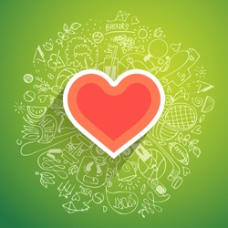 Healthy heart symbol with doodle concept with sketches about sport and health around it, vector modern concept about healthy lifestyle, heart disease treatment with sport, natural food, good sleep.