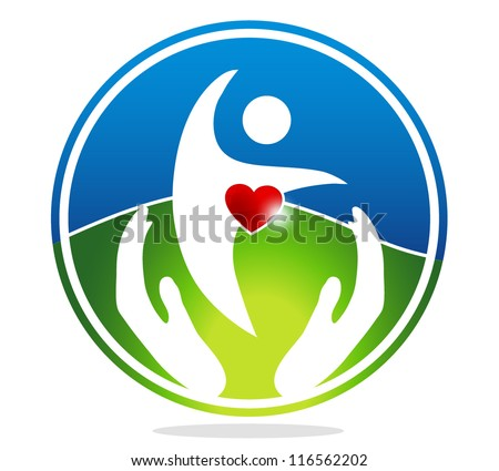 Healthy human and healthy heart symbol. The heart shape symbolizes healthy heart beating and healthy blood circulation system. Hands symbolizes the healing and protection of human health.
