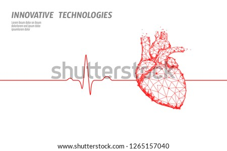 Healthy human heart beats 3d medicine model low poly. Triangle connected dots glow point red background. Pulse internal body modern anatomical shape innovative technology render vector illustration